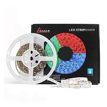 Salcar 5m RGB LED Strip mit 150 LEDs (SMD5050) inkl. 44 Tasten IR-Fernbedienung, Controller und 12V 72W Netzteil, 20 Farben auswählbar, dimmbar
