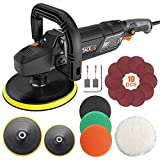 Polisher, TACKLIFE 180MM Base 1500W, 6 Variable Speeds, LED Screen Display, Lock Switch, Detachable D-Handle, Ideal for Car Sanding, Polishing, Waxing, Sealing Glaze - PPGJ01A