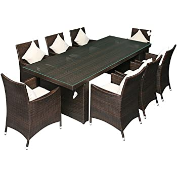 Rattanmöbel essgruppe  Amazon.de: Gartenmöbel Essgruppe mit 2, 4 m Tisch aus Aluminium ...