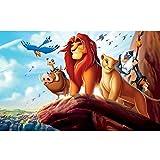 Leezeshaw 5d Bricolage Diamant Peinture par numéro Kits Fameless Strass Broderie peintures Photos pour décoration de Maison-Lion King (35,1x 24,9cm/35x 25cm) Frameless Lion King...