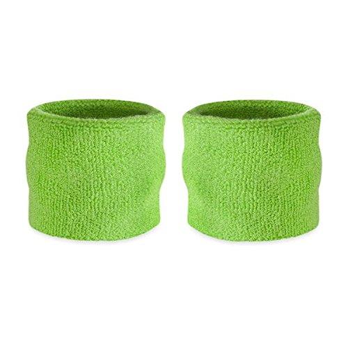 suddora Kinder Handgelenk Schweißbänder–Athletic Baumwolle Frottee Armbänder für Sport (Paar), neon green