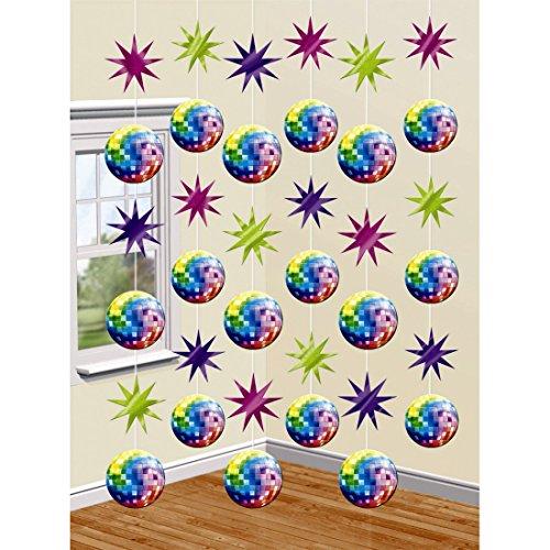 NET TOYS Suspension Boule Disco Guirlande Fluo 6 pièces, chacune à 2 m Décoration Années 70 étoile Déco à suspendre 60s Thème de Soirée Discothèque