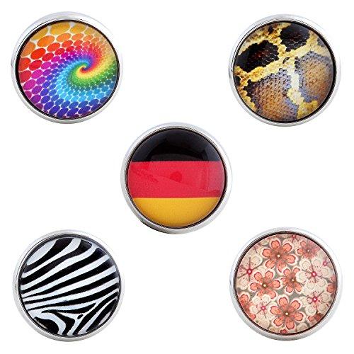 Morella® Damen Click-Button Set 5 Stück Druckknöpfe Deutsch und Fantasy
