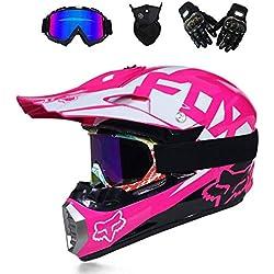 M-TK Adulte Moto Cross Casque Moto Cross Moto Cross Cross Casques Moto crossbike Enduro Sport avec Masque de tempête et Lunettes,Pink,M