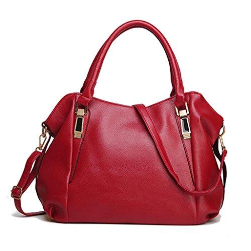Borsa Donna,Kword Borse a tracolla Luxury Borse Donna Borse Grande Capacità Spalla Borsa Donna Moda Pelle Tote Borsa (Borsa Rosso)