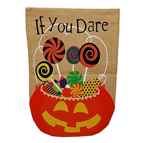 Gartenflagge von Oremovqweenry, wenn Sie es Wagen, Halloween, Süßigkeiten, doppelseitig, Jute, 31,8 x 45,7 cm