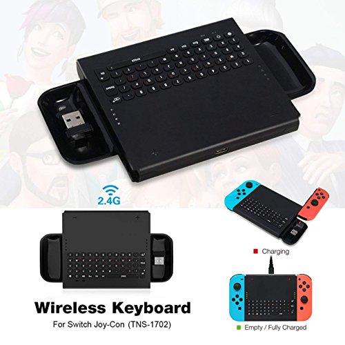 The perseids Wireless Keyboard für Switch Spiele Joy-Con Gamepad Ladegerät mit 2.4G USB-Empfänger, wiederaufladbare Handheld-Ladegriff 500mAh Akku