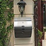 Keinode cassetta portalettere Postbox Letterbox porta giornali con serratura in acciaio inossidabile Sliver mail post Premium, montaggio a parete