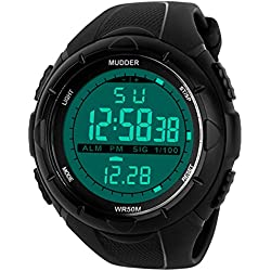 Mudder Men Military Digital Outdoor Sports Watch with Digital Electronic LED Display, Water Resistant, Black