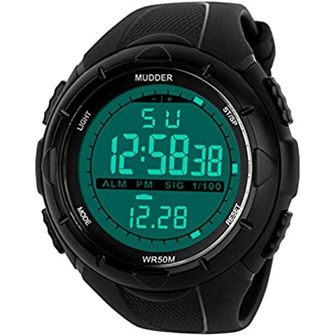Mudder Reloj Deportivo Digital Reloj Militar de Hombres con Pantalla LED Electrónica Digital, Impermeable,