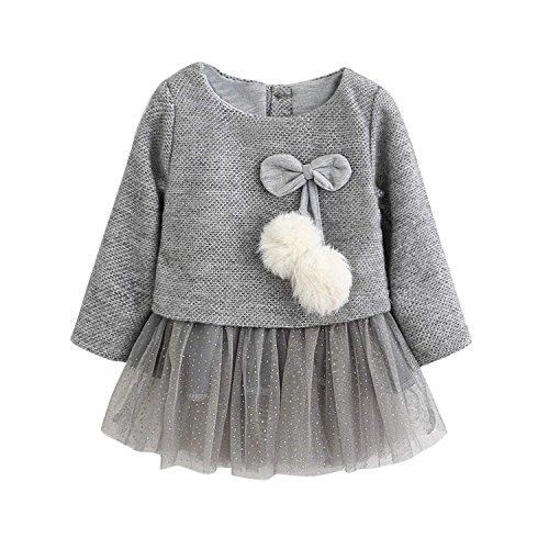 Baby Mädchen Kleider, Allskid Kleinkind Gestrickt Lange Ärmel Haarballen Bowknot Mesh Prinzessin Grau Tutu Kleid Girls Dress
