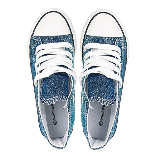Ideal Shoes–Basket Alte e glitterate Jeannie Blu