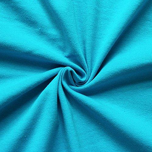 STOFFKONTOR Baumwoll Stretch Jersey Stoff Meterware Capri-Blau Capri-stretch-jersey