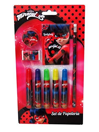 20 cm Color Rosa Lady Bug Miraculous- Ladybug Set de 6 rotuladores SAFTA 311712782
