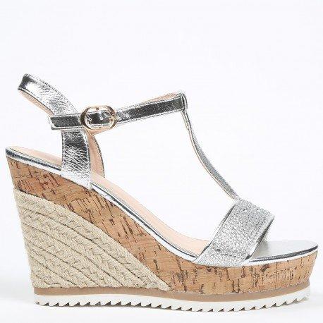 Ideal Shoes - Sandales compensées avec bride en T effet pailleté et strassé Tatania Argent