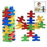 iwobi 16 pezzi Giochi di accatastamento in Legno,Bilanciamento del Legno Costruzioni Giocattolo per Bambini
