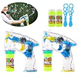TOYMYTOY Pack of 2 LED Light Up Bubble Gun Bubble Machine Blower Flashing Light and Sound Shooter Blasters Kids Children Party Favors (Blue Yellow)