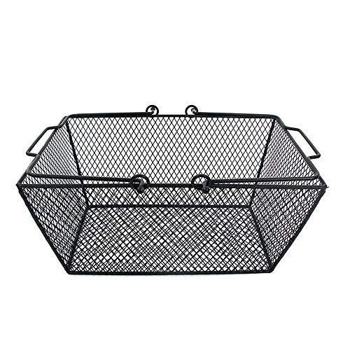 Baffect Einkaufskorb Metall Gitterkorb Eisendraht Korb mit Griffen Aufbewahrungskorb Schirmkorb Metallkorb mit beweglichen Handgriffe, Schwarz -
