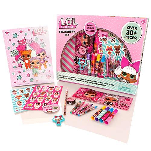 MGA Entertainment LOL Surprise Deluxe - Juego de papelería de 30 Piezas - Lápices para Colorear para niñas, Caja de lápices, Kit de Arte