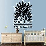 Diy Bob Marley Vinilo Autoadhesivo Papel Pintado Para Niños Decoración de la Habitación Arte de la Pared Tatuajes de Pared Mural a prueba de agua púrpura 57 * 79 cm