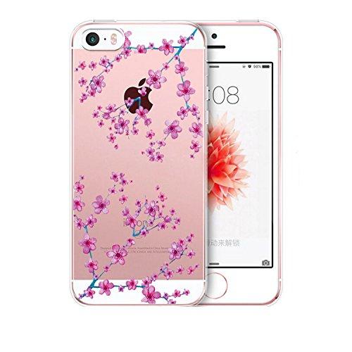 iPhone 5/5s/SE hülle vanki® Tasten Schutzhülle Blumen Clear Case Cover Bumper TPU Silikon Durchsichtig Handyhülle für iPhone 5/5s/SE (Cherry blossoms) Plum flower