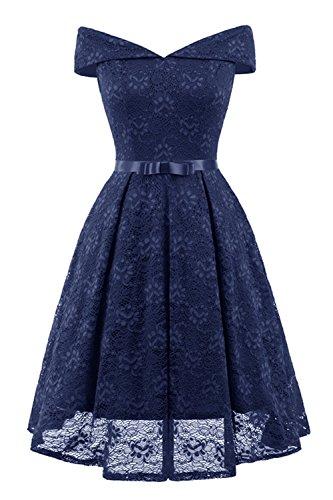 Misshow Partykleider Kurz Elegant Abiballkleid Blau Off Schulter Konfirmation Formelle Kleider