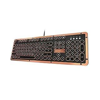 Retro Classic Artisan - USB Luxury Vintage Back lit Mechanical Keyboard (Blue Switch, Black Leather, Zinc Alloy Frame)(UK Layout)