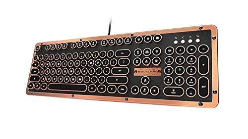 Azio mk-retro-l-03-us Retro Classic Artisan-USB Vintage mechanische Tastatur mit Hintergrundbeleuchtung (Blue Switch, schwarz Leder, Zink Legierung Rahmen)-Schwarz/Kupfer Bronze Black/Copper -