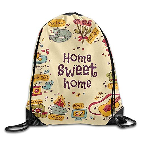 fengxutongxue House Sweet Drawstring Backpack Travel Bag Gym Outdoor Sports Portable Drawstring Beam Port Backpack for Girl Boys Woman Female