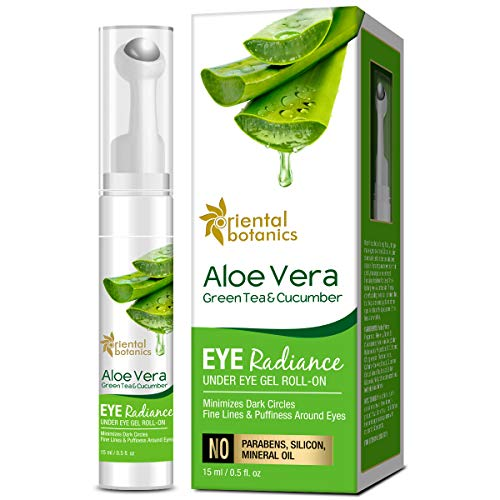 Oriental Botanics Aloe Vera, Green Tea & Cucumber Eye Radiance Under Eye Gel Roll on to Reduce Dark Circles, Puffiness and Fine Lines, 15ml (With Roller)