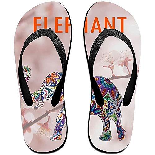 Zapatillas Chanclas Antideslizantes Unisex Flores Elefante Zapatillas de Playa Frescas Sandalia
