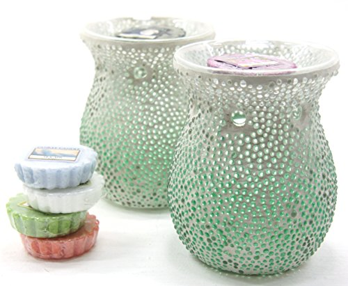 2 x Official Yankee Candle Mint Green Ombre Dot Mosaic Relaxation Wax Melt Warmer Burners Includes 6 x Assorted Tarts