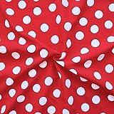 Modestoff Dekostoff universal Punkte Groß Stoff Meterware Rot-Weiss