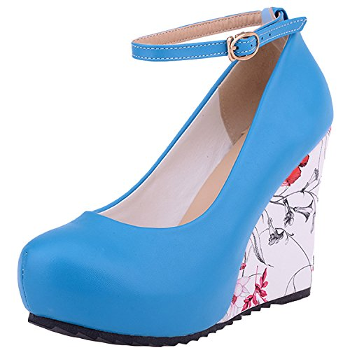 Oasap Women's Ankle Strap Wedge Heels Floral Pumps Blue
