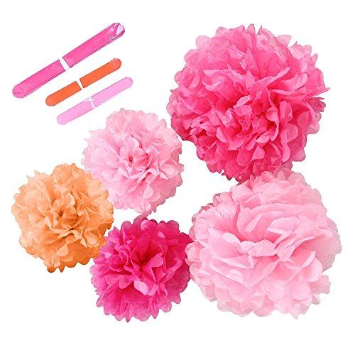 Ohuhu® [5-pacco] pom poms alta qualità, fiore finto carta per matrimonio, party compleanno, docce da sposa, docce da neonati e altre occasioni speciali, 2 dimensioni, rosa, fuxia, arancione