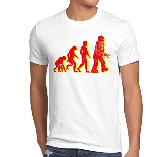 style3 Roboter Evolution Herren T-Shirt sheldon, Größe:XXXL;Farbe:Weiß -