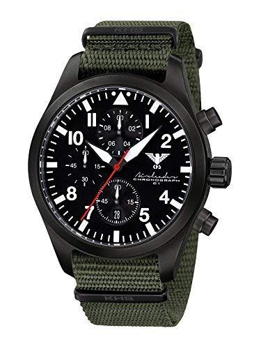 Airleader Black Steel Chronograph KHS.AIRBSC.NO Edelstahl IP-beschichtet schwarz, Natoband oliv, KHS Tactical Watch, Einsatzuhr, Fliegeruhr