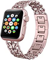 For iWatch Strap 38mm AISPORTS Apple Watch Straps 38mm Stainless Steel Cowboy Chain Smart Watch Replacement Band...