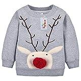 Sweatshirt Baby Shirt Weihnachten Hirsch Fleecepullover langarm Babykleidung für Jungen Mädchen Vine Grauer Hirsch