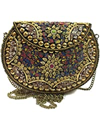 Women,Girls Party Bags, Metal Purse,Metal Bags, Mosaic Clutch,Ethnic Wallet, Sling Bags,Ethnic Clutches,cross...