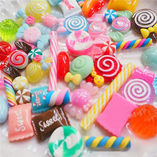 Kostüm Süßigkeit - Zantec 100 Teile / Satz Künstliche Lebensmittel Lollipop Candy Decor Figur Spielzeug Puppenhaus DIY Telefon Fall Zubehör