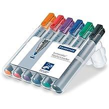 Staedtler 356 WP6 Flipchart-Marker Lumocolor (Rundspitze ca. 2 mm Linienbreite, Set mit 6 Farben, ideal für Flipchart-Blöcke, farbintensiv, geruchsarm, hohe Qualität Made in Germany)