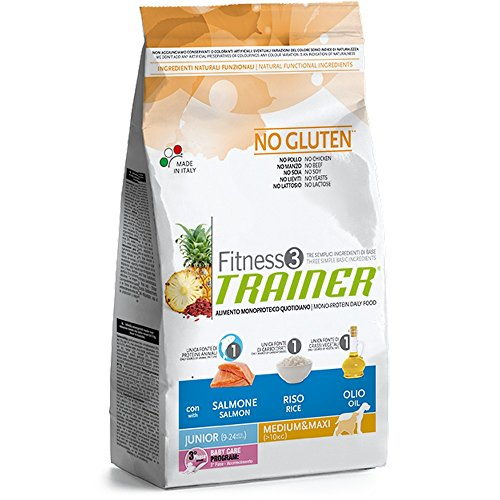 Trainer Fitness 3 No Gluten Junior Med&Maxi Salmone Mais Olio 12,5kg