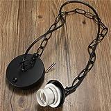 Rosh E27/E26 Ceiling Rose Chain Pendant Chandelier Light Lamp Bulb Holder Socket-black