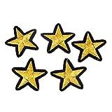 Souarts Gold Farbe Stern Aufnäher Bügelbild Aufbügler Iron on Patches Applikation Kinder Kleidung DIY 10St