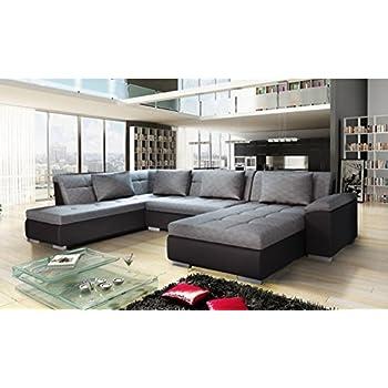 d9051e0fd5e71 Canapé d angle Convertible en U Lemon Gris et Noir Style Moderne et Design