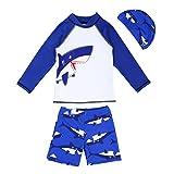 iiniim Jungen Bademode Schwimmbekleidung UV-Schutz Bade-Set Langarm T-Shirt+Badeshorts+Bademütze Gr.92-140 Weiß&Blau 92-98/2-3 Jahre