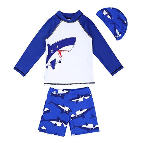 CHICTRY Jungen Zweiteiliger Badeanzug Hai Druck Langarm Shirt Top + Badehose mit Kappe Badekleidung Set Bademode Weiß & Blau 110-116