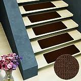 Pure Nature Sisal Stufenmatten | 15 Stück Set | rechteckig, ohne Lippe, dunkelbraun