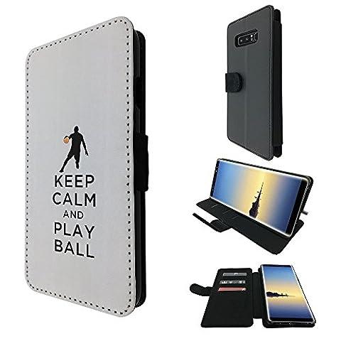 002788 - Keep Calm And Play Ball Football Soccer Design Samsung Galaxy Note 8 TPU Leder Brieftasche Hülle Flip Cover Book Wallet Credit Card Kartenhalter Case